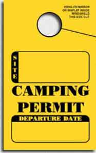 IN STOCK Non-Personalized Camping Permit. Mirror Hang Tags  (sku: 200004)